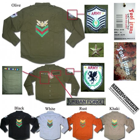 Wholesale Tool Jeans Men Army Style Shirts 6 pieces prepacked