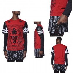 Square Zero Extended Side Zip Long Sleeve Hip Hop Bandana Shirts 6pcs Pre- packed - Red