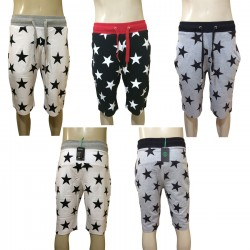 Wholesale Drawstring Stars Printed Jogger Shorts 6pc Pre-packed