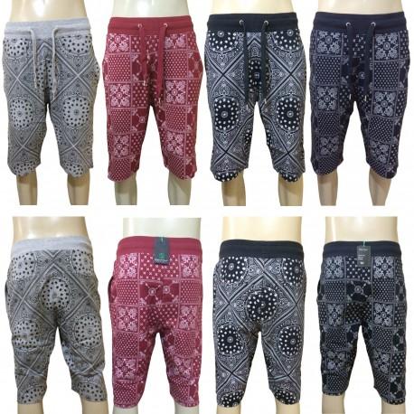 Wholesale Drawstring Bandana Printed Jogger Shorts 6pc Pre-packed