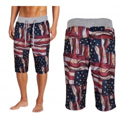 American US Flag Men's Drawstring Printed Jogger Shorts 6pc Pre-packed