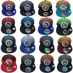 City Names Embroidered Snapback Hats 12pc Pre-packed