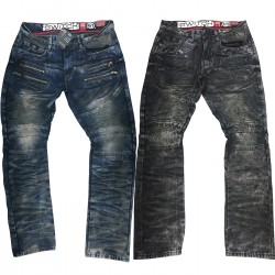 Wholesale Mens Slim Straight Fit Switch Biker Jeans 12pcs Pre-packed