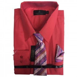 Wholesale Men's Vittorino Long Sleeve Shirts with tie 6pc Pre-packed