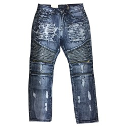 Wholesale Men's Direct Blue Biker Distressed Jeans 12pcs Pre-packed