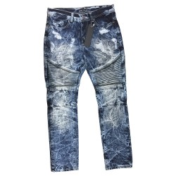 Wholesale Men's Direct Blue Biker Jeans 12pcs Pre-packed