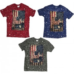 Patched Flag Splatter Tee by Akademiks 6pcs Pre-packed