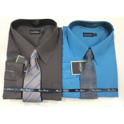 """Wholesale Men """"Big Size"""" Vittorino Long Sleeve Shirts with tie 6pc Pre-packed"""
